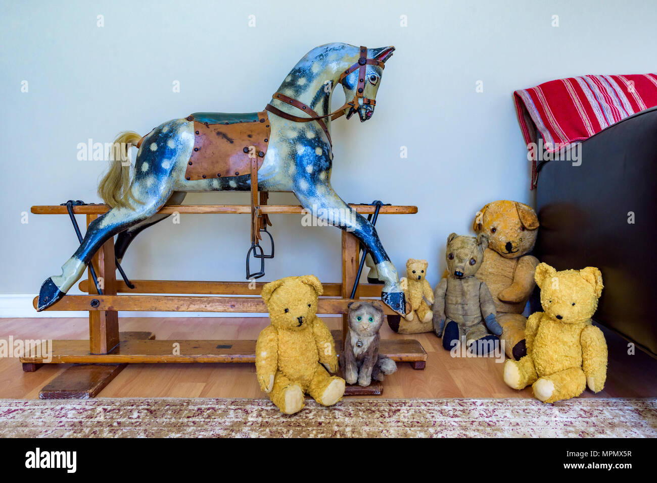 Vintage Antique Bcl Rambler Rocking Horse And Teddy Bears Stock Photo Alamy
