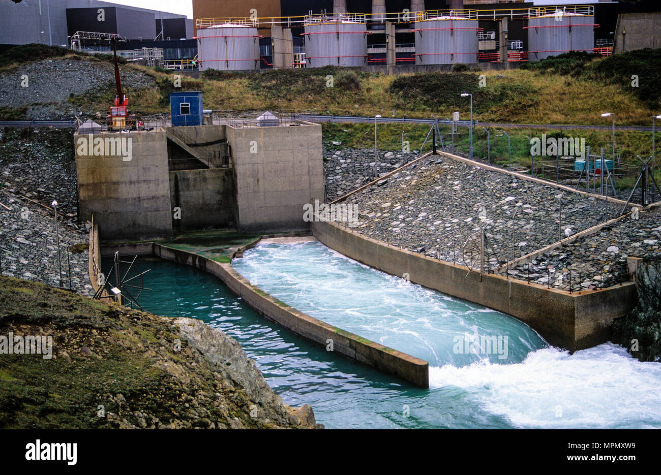 Cooling Water Outlet, Welfa Nuclear Power Station, Cemaes Bay, Anglesey, Wales, UK, GB. - Stock Image