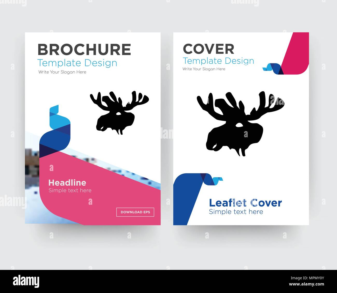 moose head brochure flyer design template with abstract photo