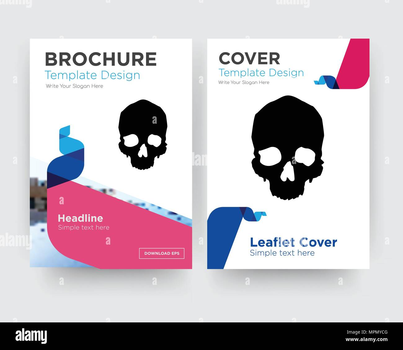 simple skull brochure flyer design template with abstract