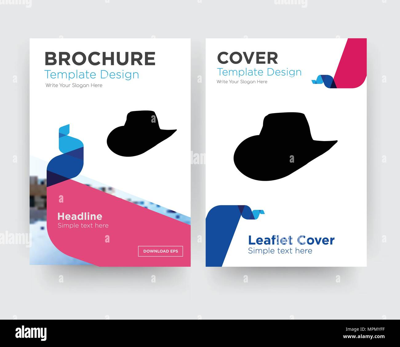 Cowboy Hat Brochure Flyer Design Template With Abstract Photo Background Minimalist Trend Business Corporate Roll Up Or Annual Report