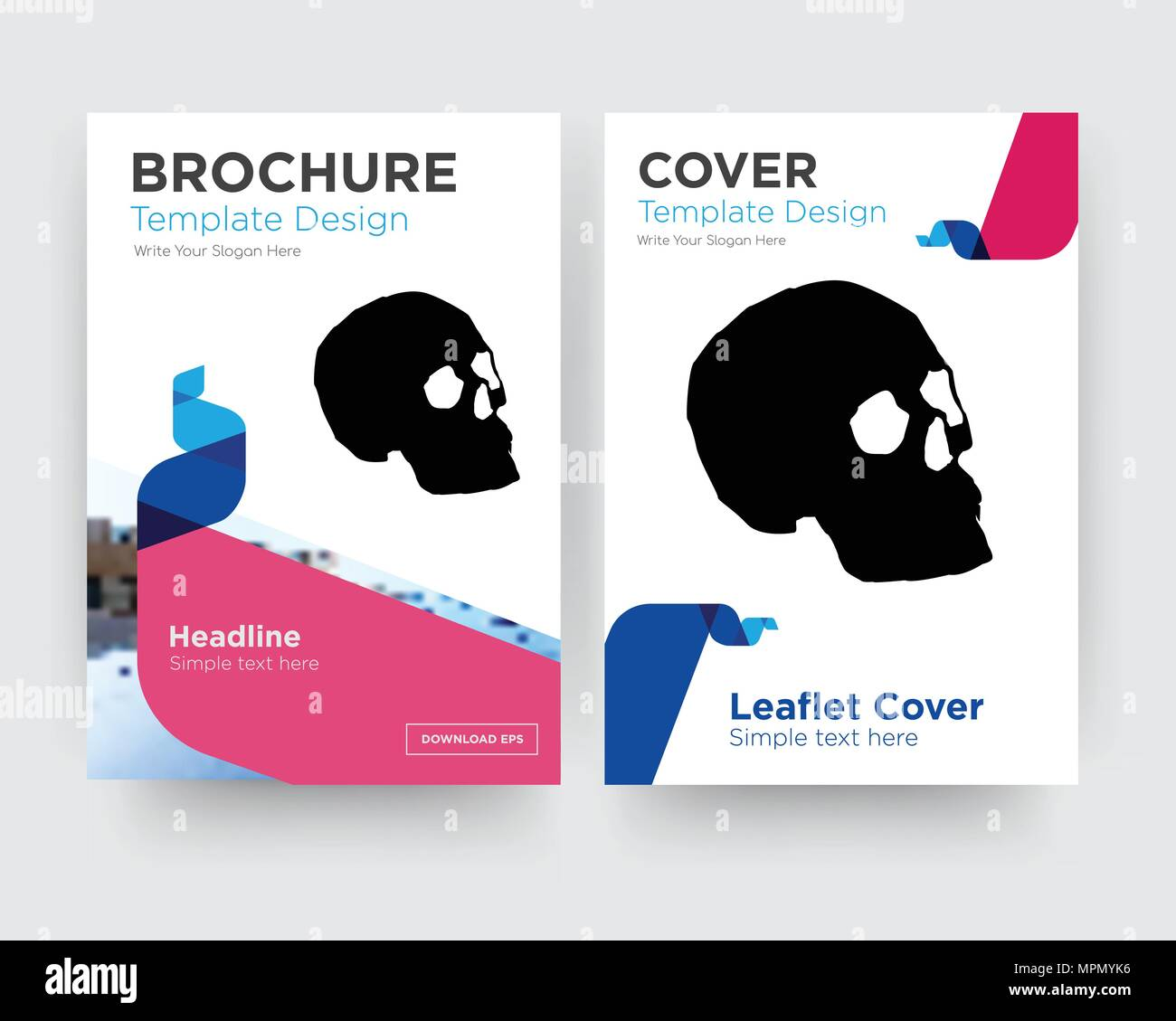 simple skull brochure flyer design template with abstract photo