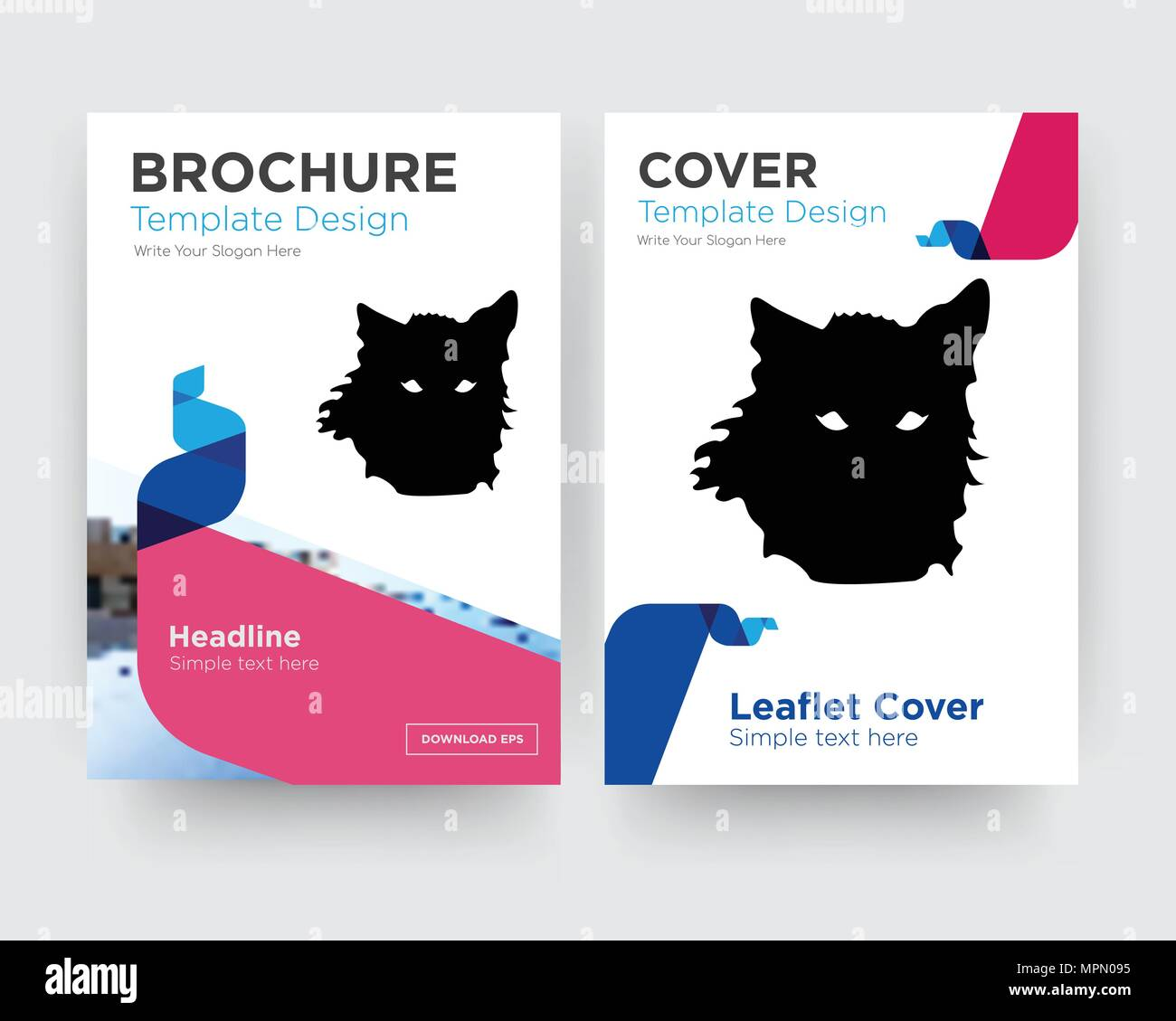 wolf face brochure flyer design template with abstract photo