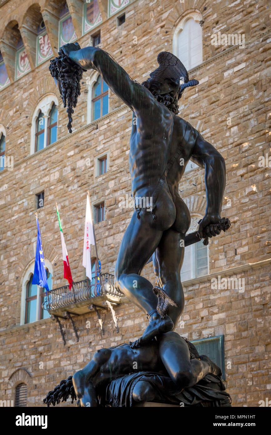 Cellini's sculpture of Perseus killing Medussa in Piazza della Signoria, Florence, Tuscany, Italy - Stock Image