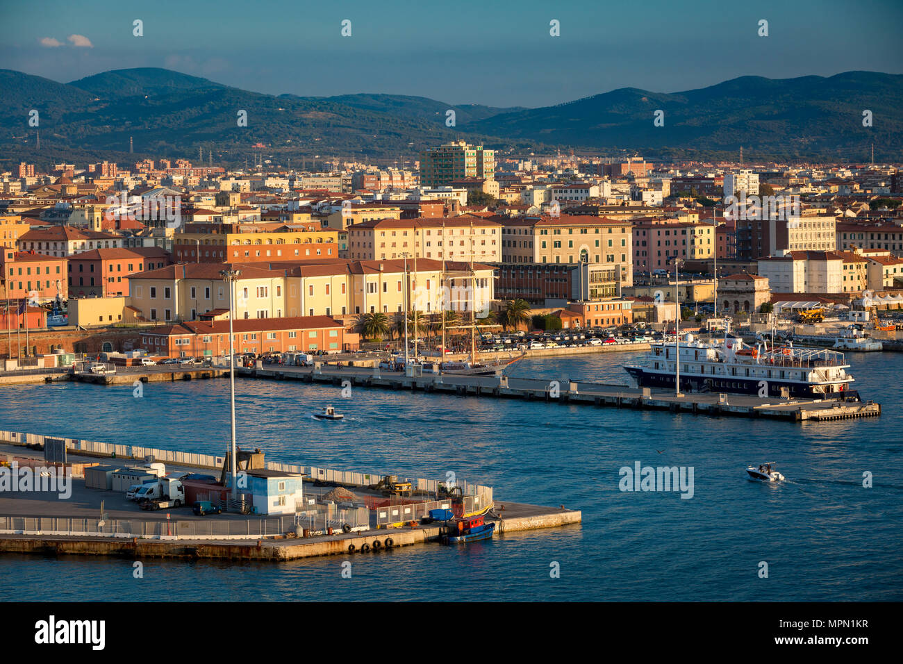 Waterfront at sunset, Livorno, Tuscany, Italy - Stock Image