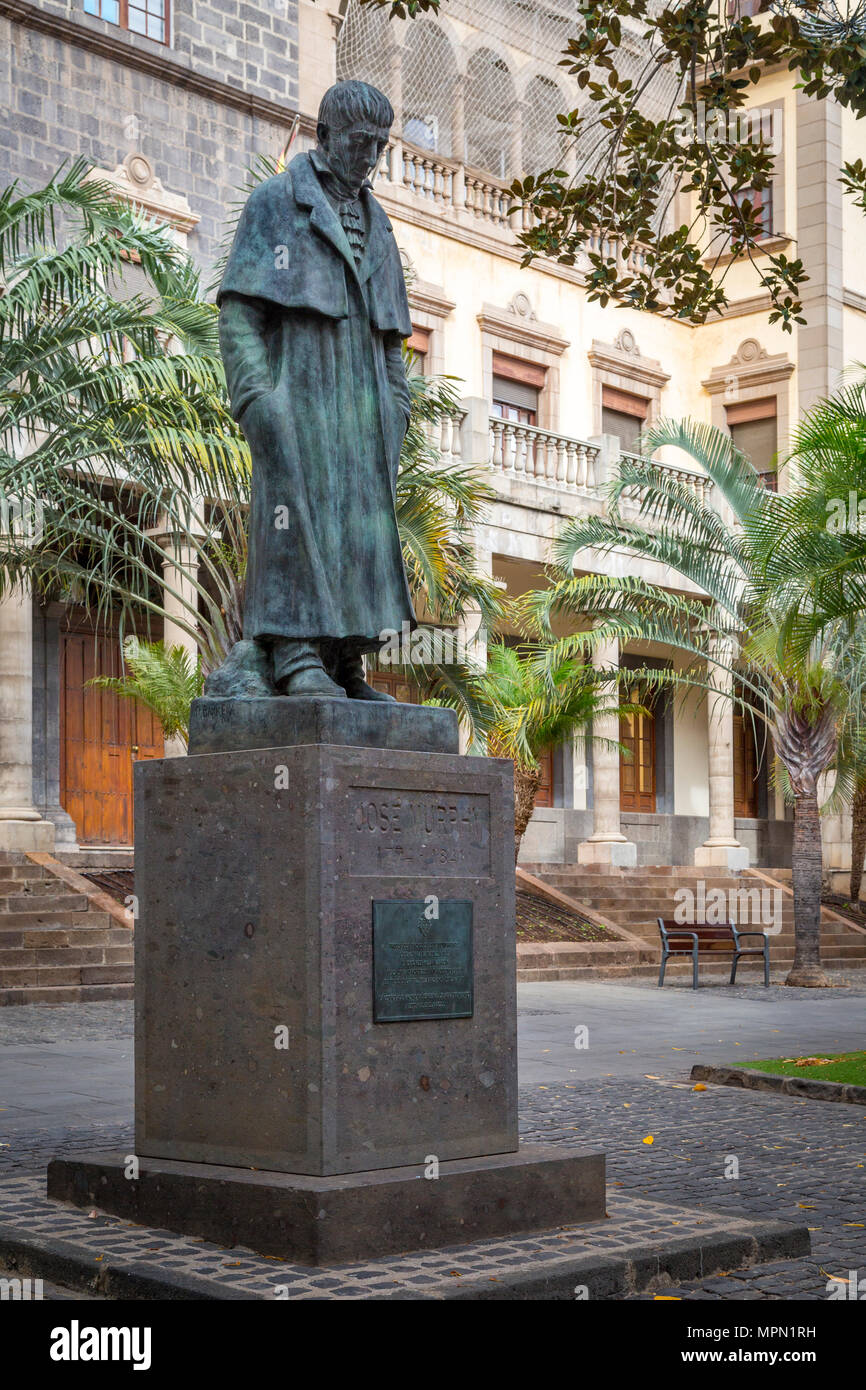 Liberal 19th Century Spanish politician, Jose Murphy statue, Santa Cruz, Tenerife, Canary Islands, Spain - Stock Image