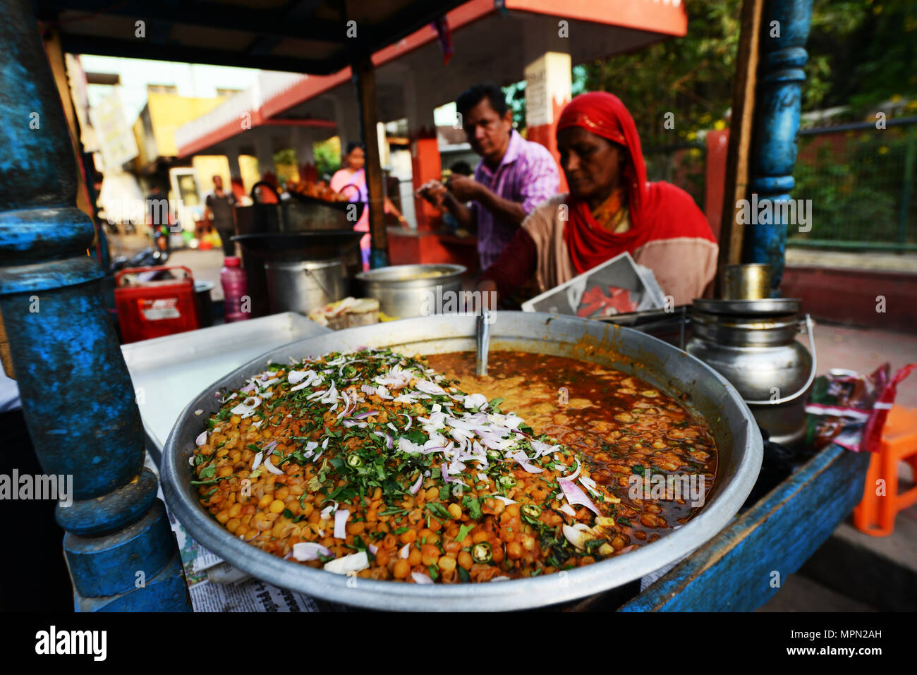 A pot of Chickpea curry at a street food stall in Chennai, India. - Stock Image
