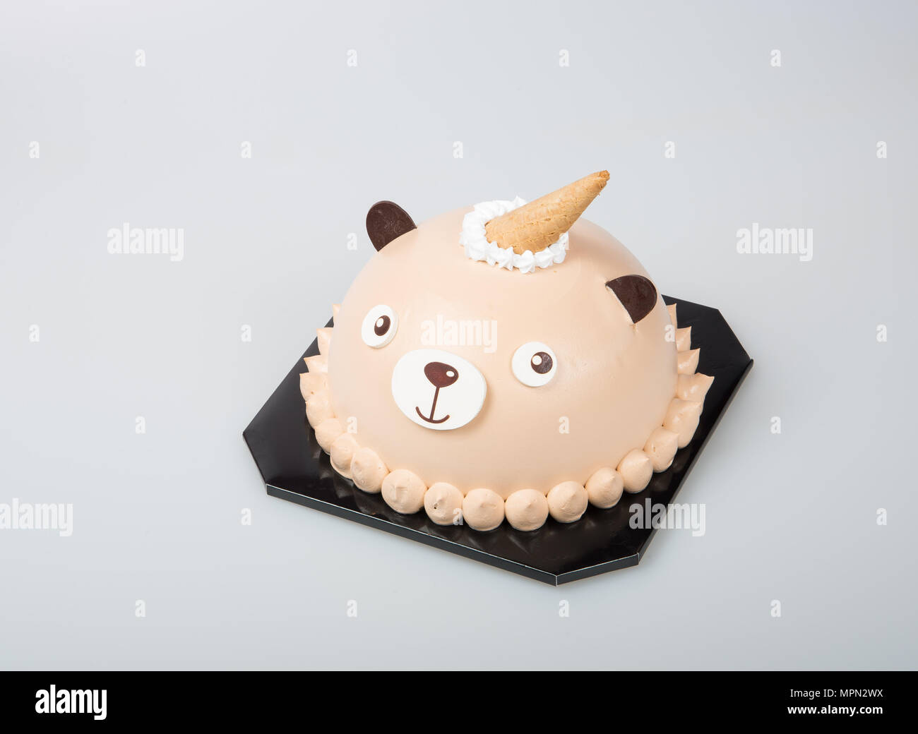 Awe Inspiring Cake Or Bear Birthday Cakes On A Background Stock Photo 186089398 Funny Birthday Cards Online Aeocydamsfinfo