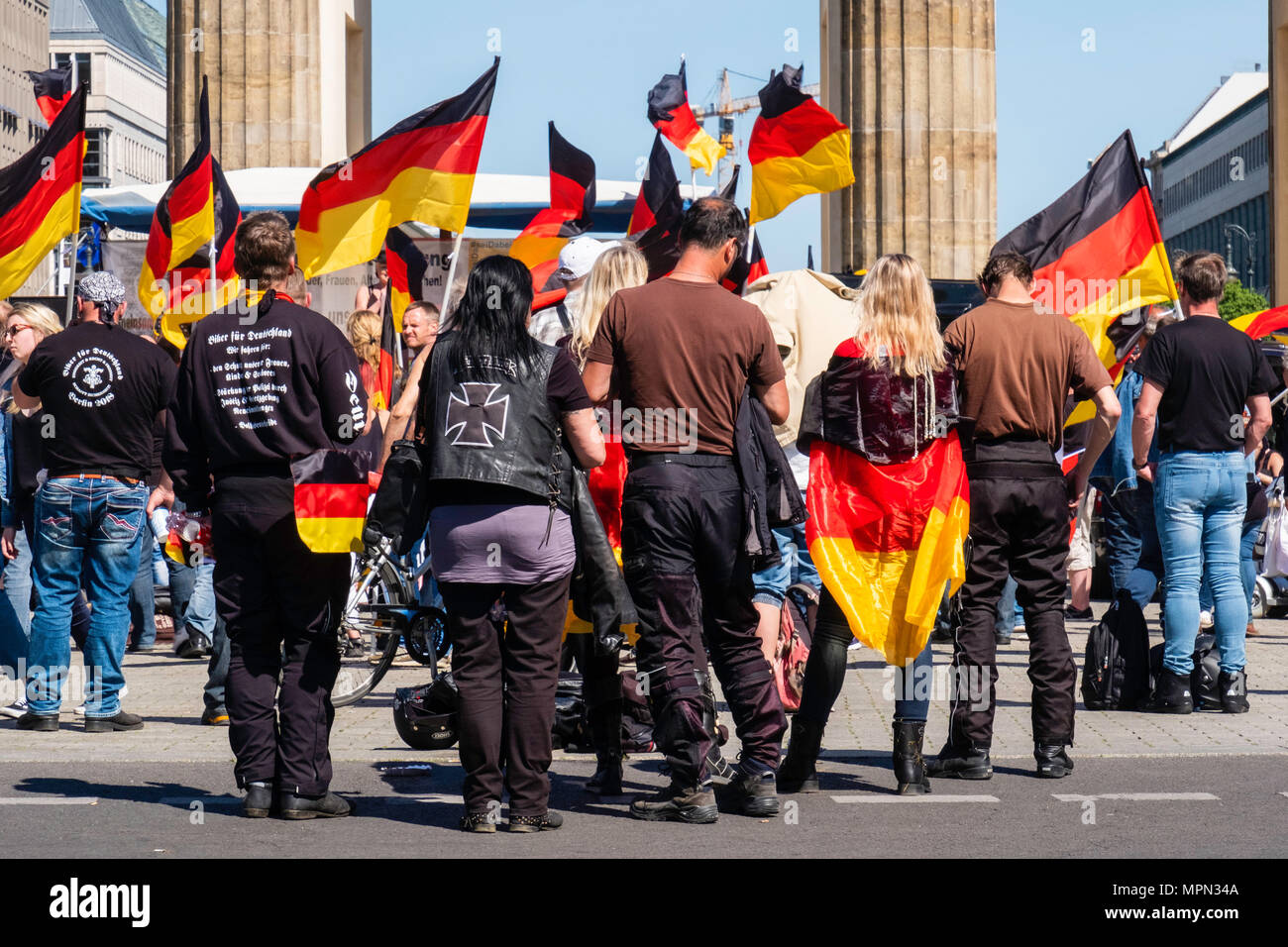 Berlin Mitte, Hundreds of Bikers protest at the Brandenburg Gate for protection of Women, Children and Old People in Germany. Right wing rally - Stock Image