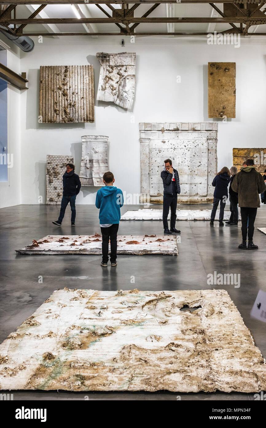 Berlin Neukölln, KINDL Centre for Contemporary Art, Berlin Fassaden series, Facades by the sculptor Asta Gröting. Silicone impressions of war damaged  - Stock Image