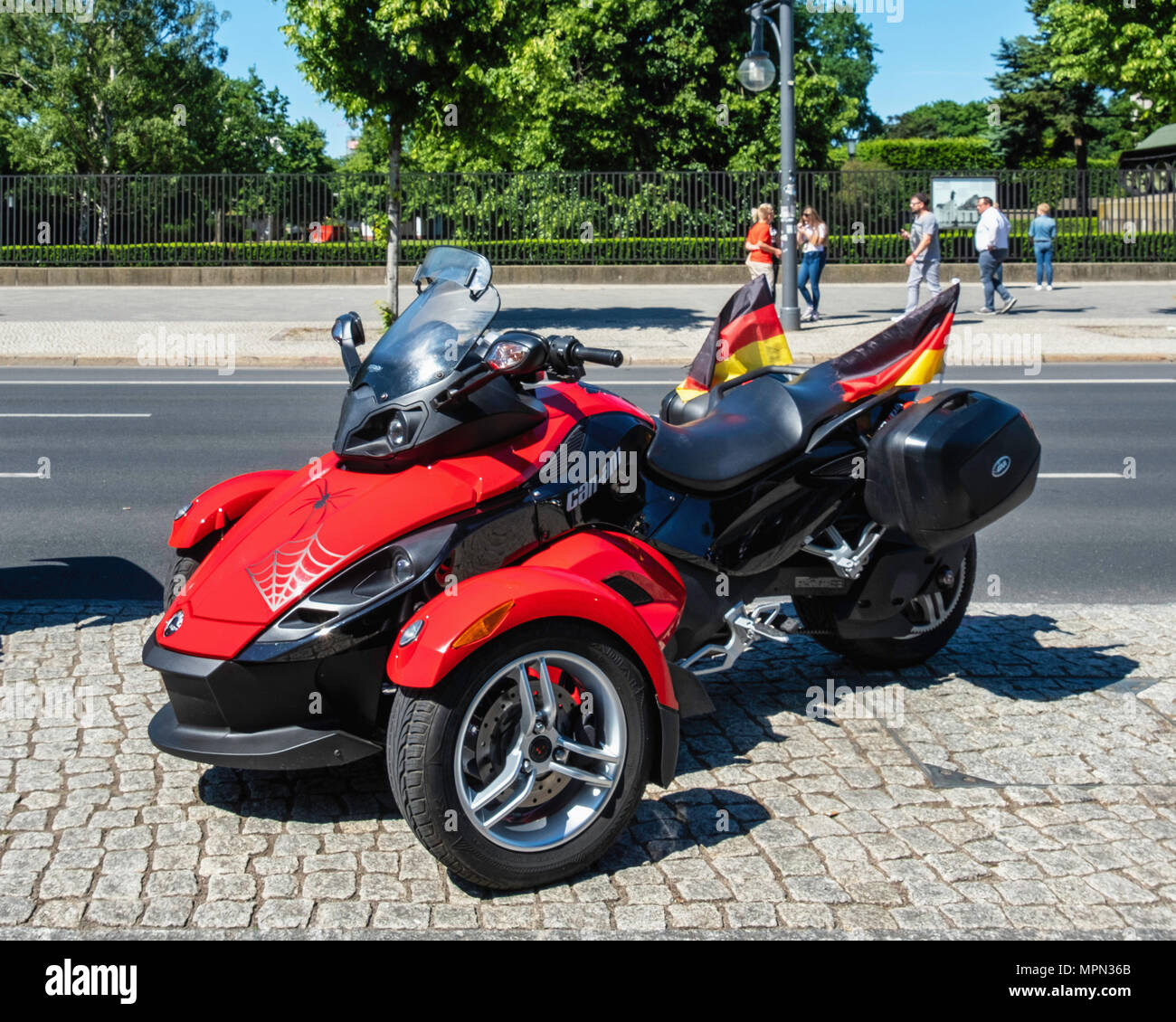 Berlin Mitte, Red BRP Can-Am Spyder Roadster At Bikers for Germany Rally.        Hundreds of Bikers protest at the Brandenburg Gate - Stock Image