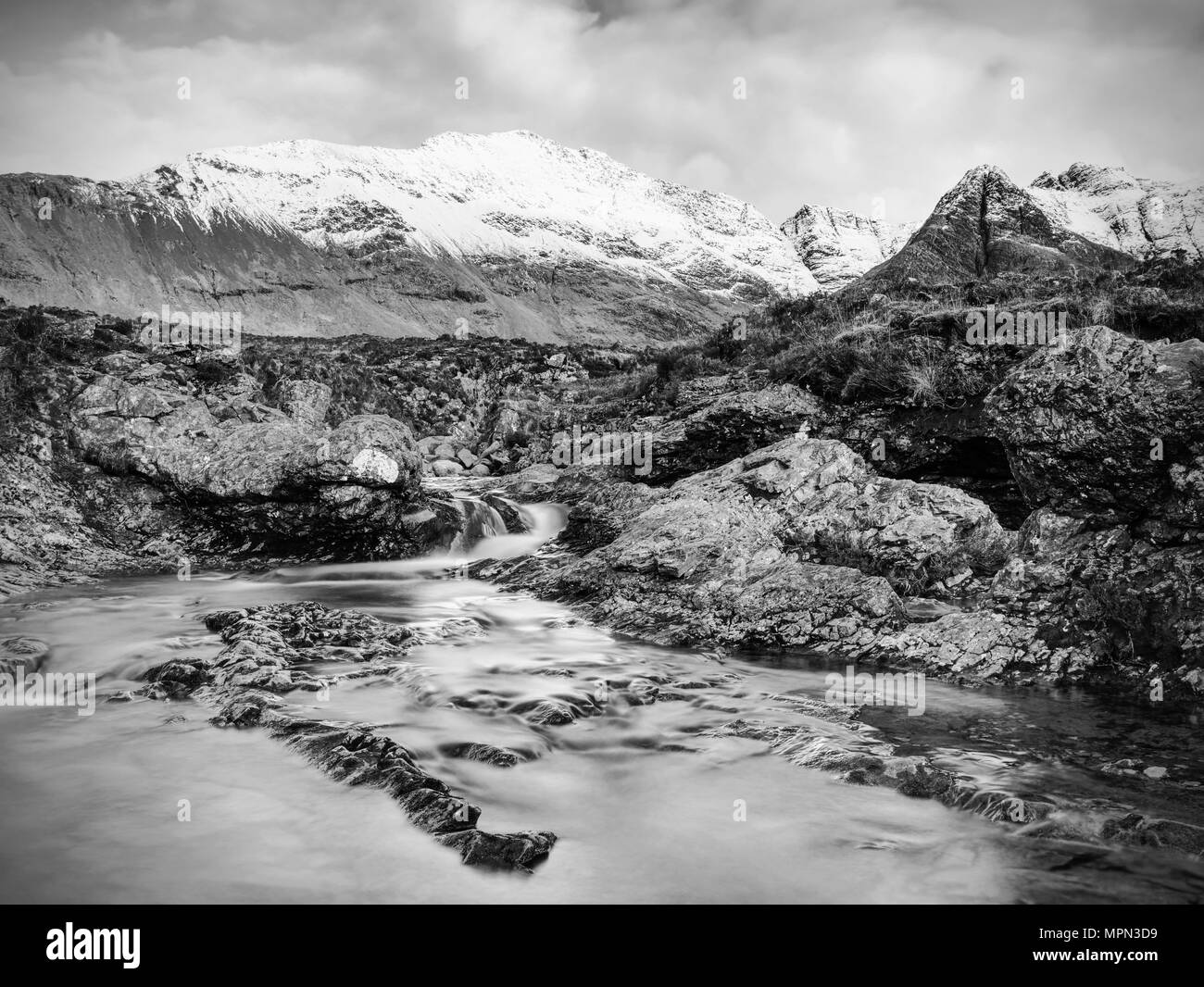 Multiple waterfalls on River Brittle  with many cold swimmable pools. Black and white photography - Stock Image