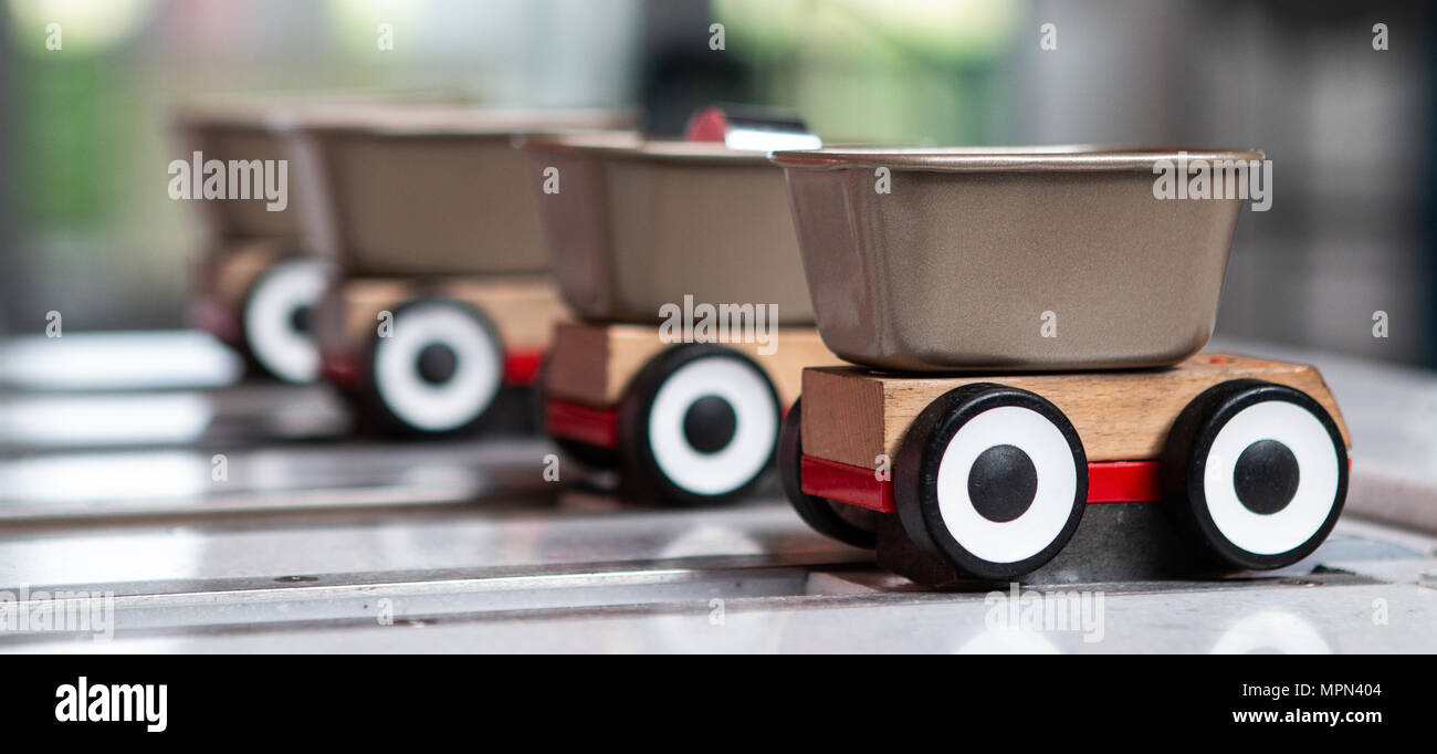 Racing carts to teach about friction at Winchester Science Centre. - Stock Image