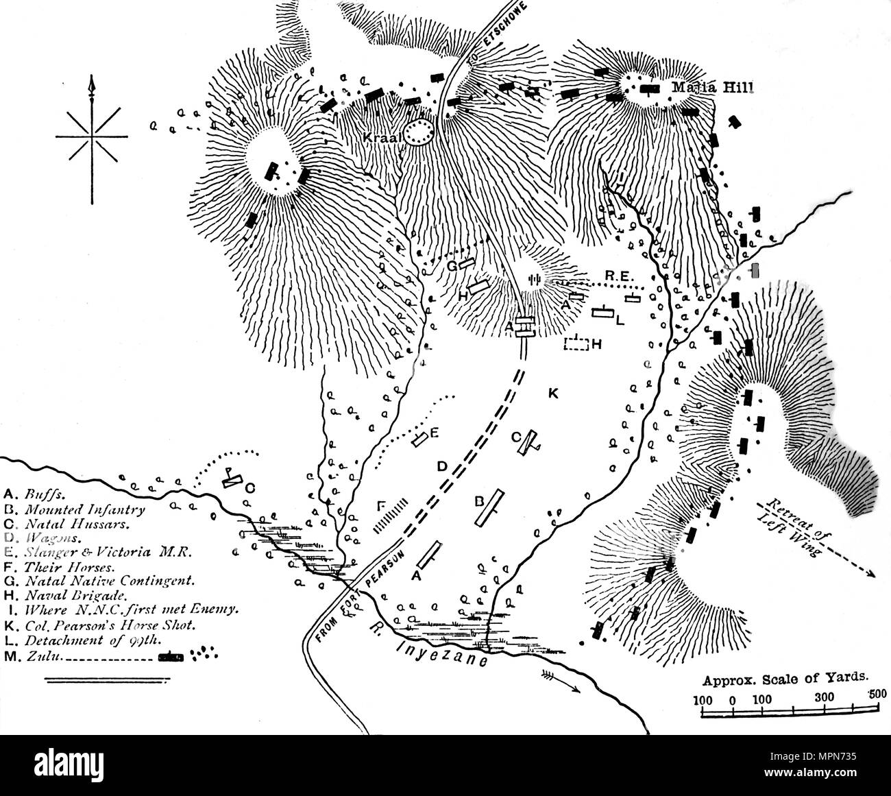 'Plan of the Fight at Inyezane, (Jan. 22, 1879)', c1880. Artist: Unknown. - Stock Image