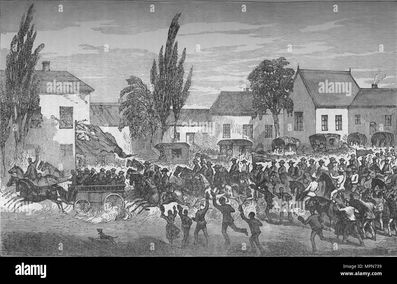 'Oudtshoorn Mounted Volunteers Starting for the Eastern Frontier', c1880. Artist: Unknown. - Stock Image