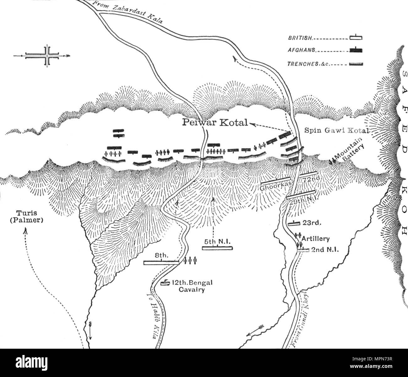 'Plan of Attack on Peiwar Kotal (Dec. 2, 1878)', c1880. Artist: Unknown. - Stock Image