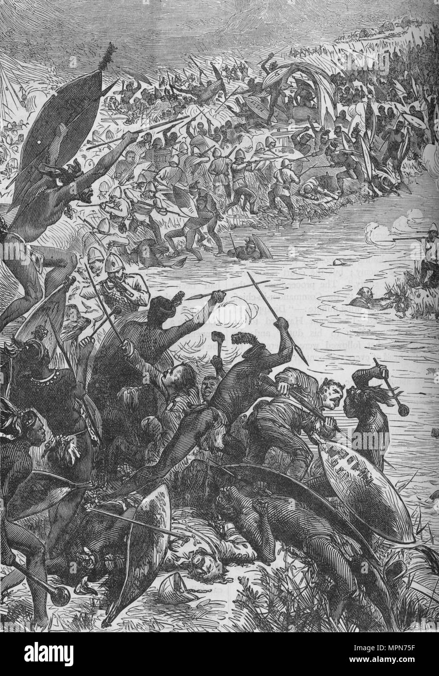 'Attack of the Zulus on the Escort of the Eightieth Regiment at the Intombe River', 1879, (c1880). Artist: Unknown. - Stock Image