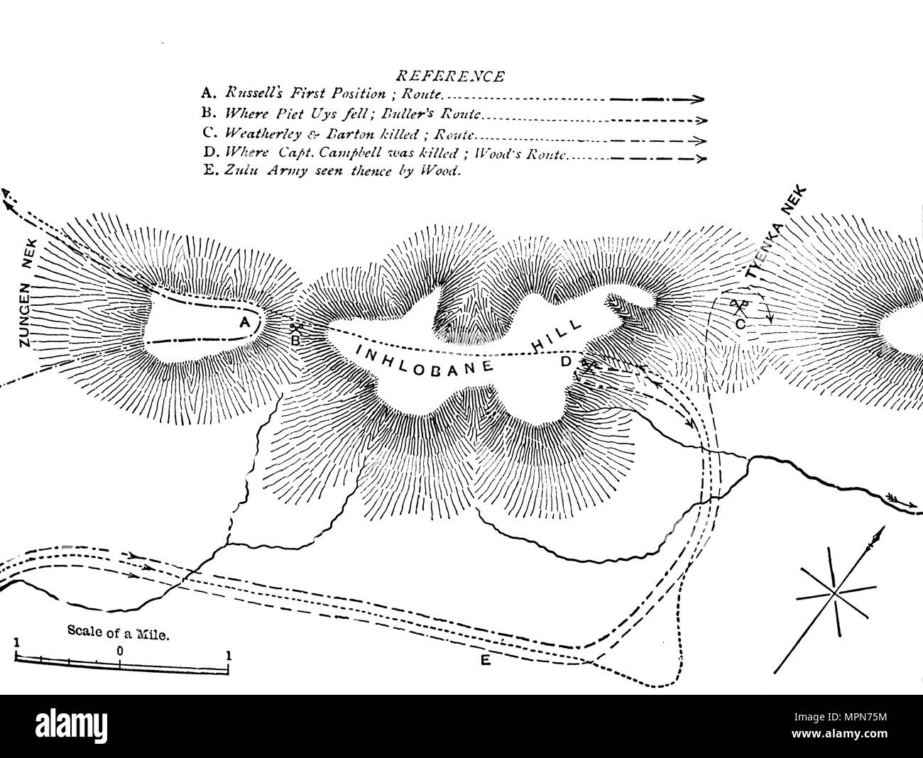 'Plan of the Fight on the Inhlobane Mountain, (March 28, 1979)', c1880. Artist: Unknown. - Stock Image