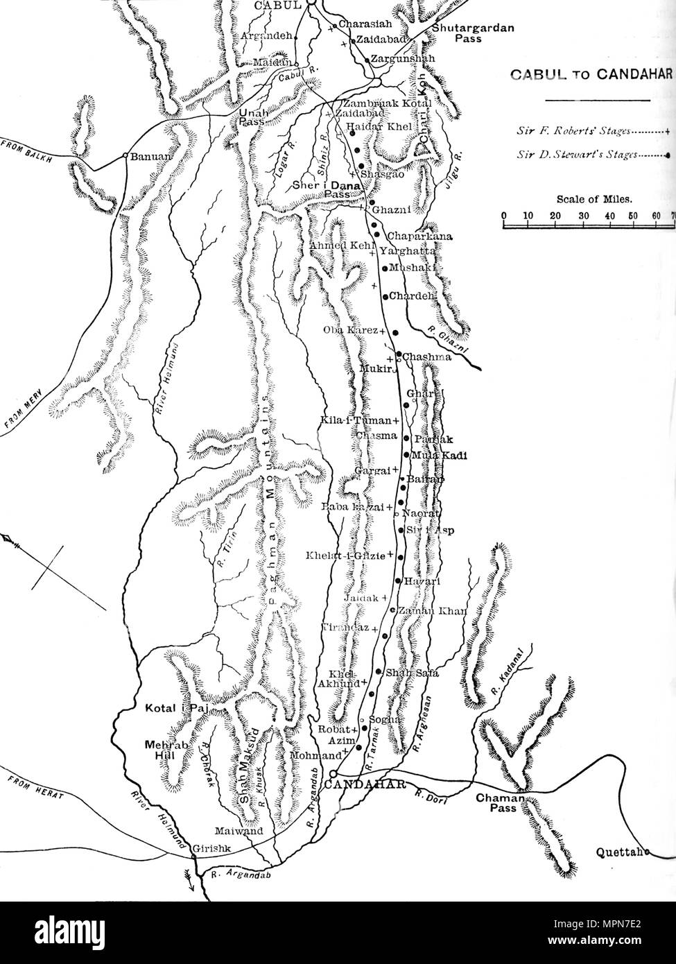 'Plan of General Roberts's March from Cabul to Candahar', c1880. Artist: Unknown. - Stock Image