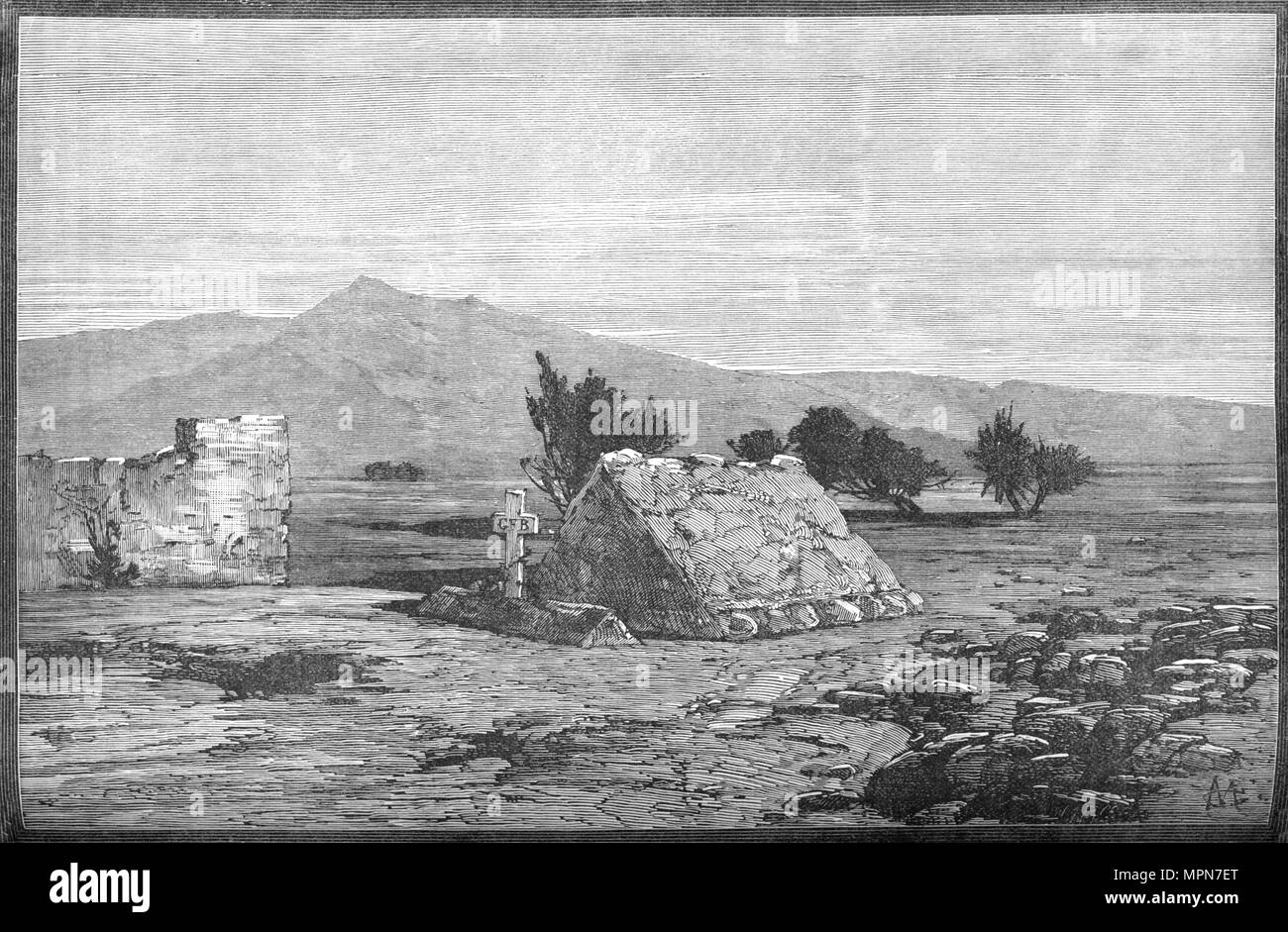 'Graves of Major Blackwood and Men of the Sixty-Sixth Regiment, Maiwand', c1880. Artist: Unknown. - Stock Image