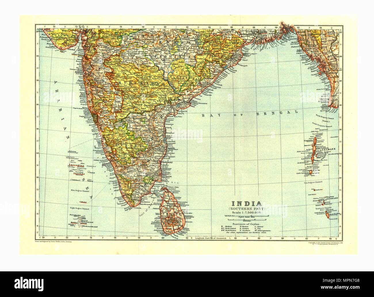 Map of India Southern part, c1910. Artist: Johann Georg Justus Perthes. - Stock Image