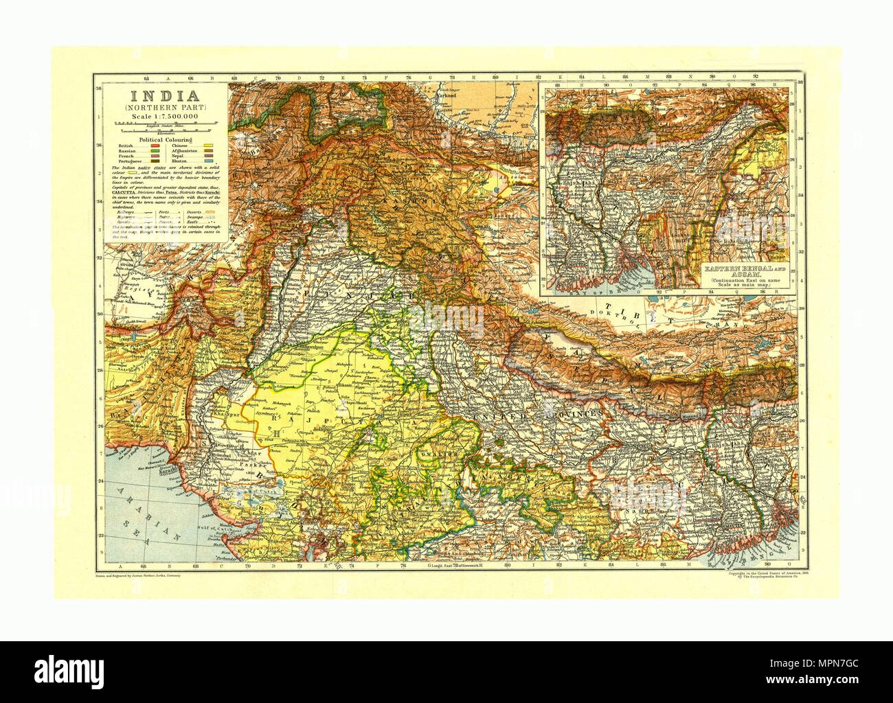 Map of India Northern part, c1910. Artist: Johann Georg Justus Perthes. - Stock Image