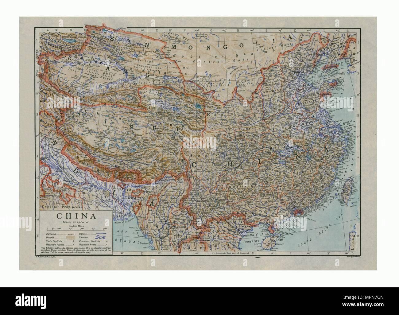 Map of China, c1910. Artists: HW Cribb, Emery Walker Ltd. - Stock Image