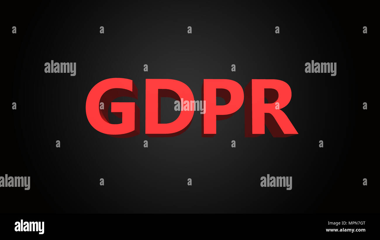 GDPR is the abbreviation for general data protection regulation, 3D text illustration - Stock Image