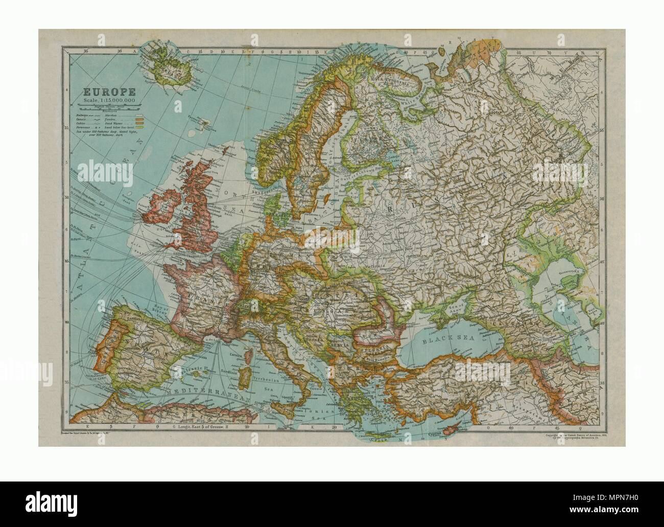 Map of Europe, c1910. Artist: Gull Engraving Company. - Stock Image
