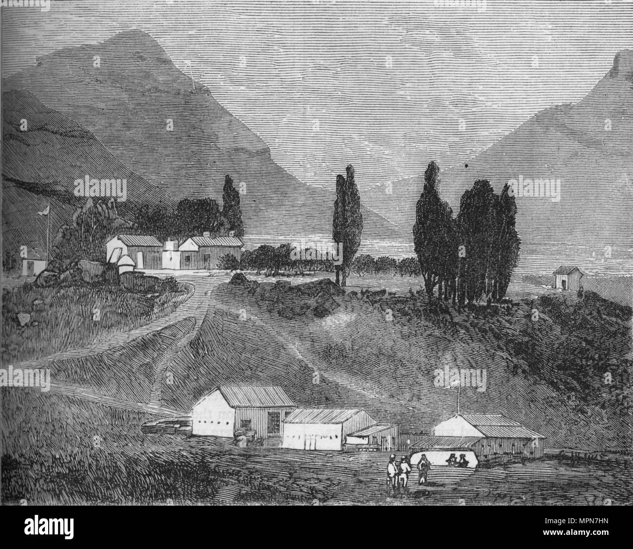 'The Residency, Maseru, Basutoland, Abode of the Chief Magistrate, Commandant Griffiths', c1880. Artist: Unknown. - Stock Image
