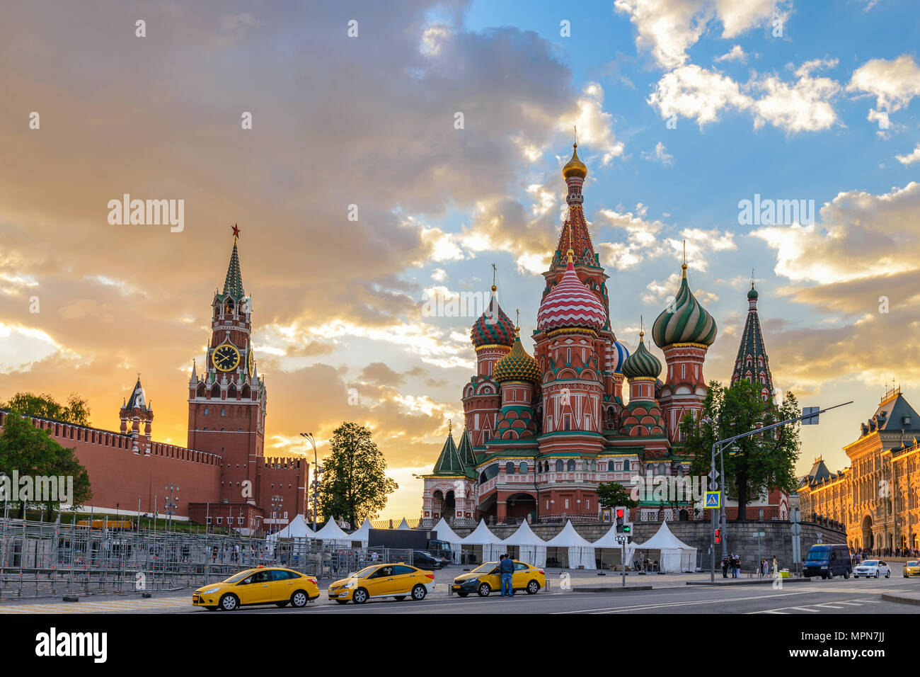 Moscow sunset city skyline at Red Square, Moscow, Russia - Stock Image