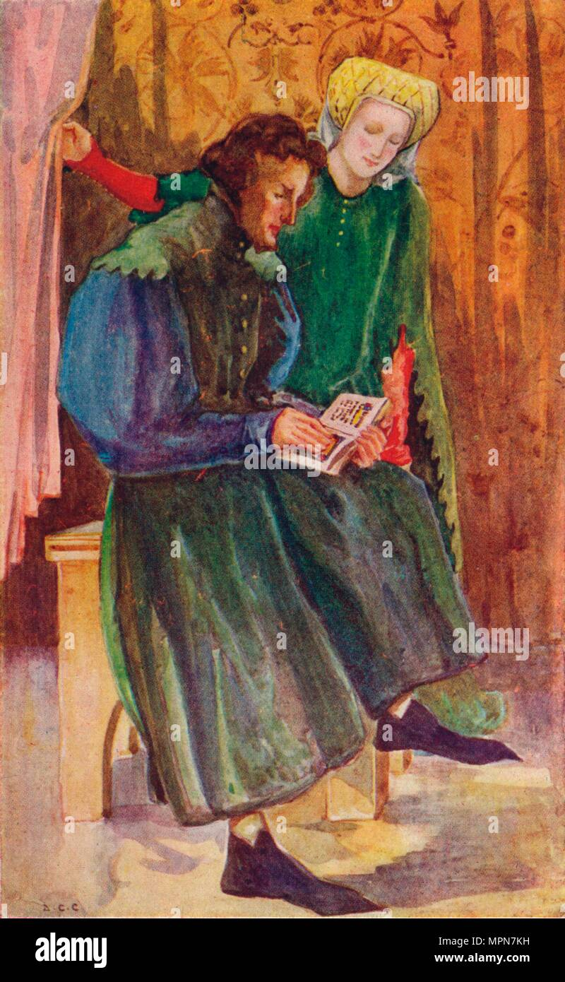 'A Man and Woman of the Time of Henry IV', 1907. Artist: Dion Clayton Calthrop. - Stock Image