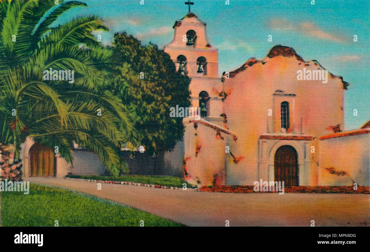 'Mission San Diego De Alcala. Founded 1769, California', c1941. Artist: Unknown. - Stock Image