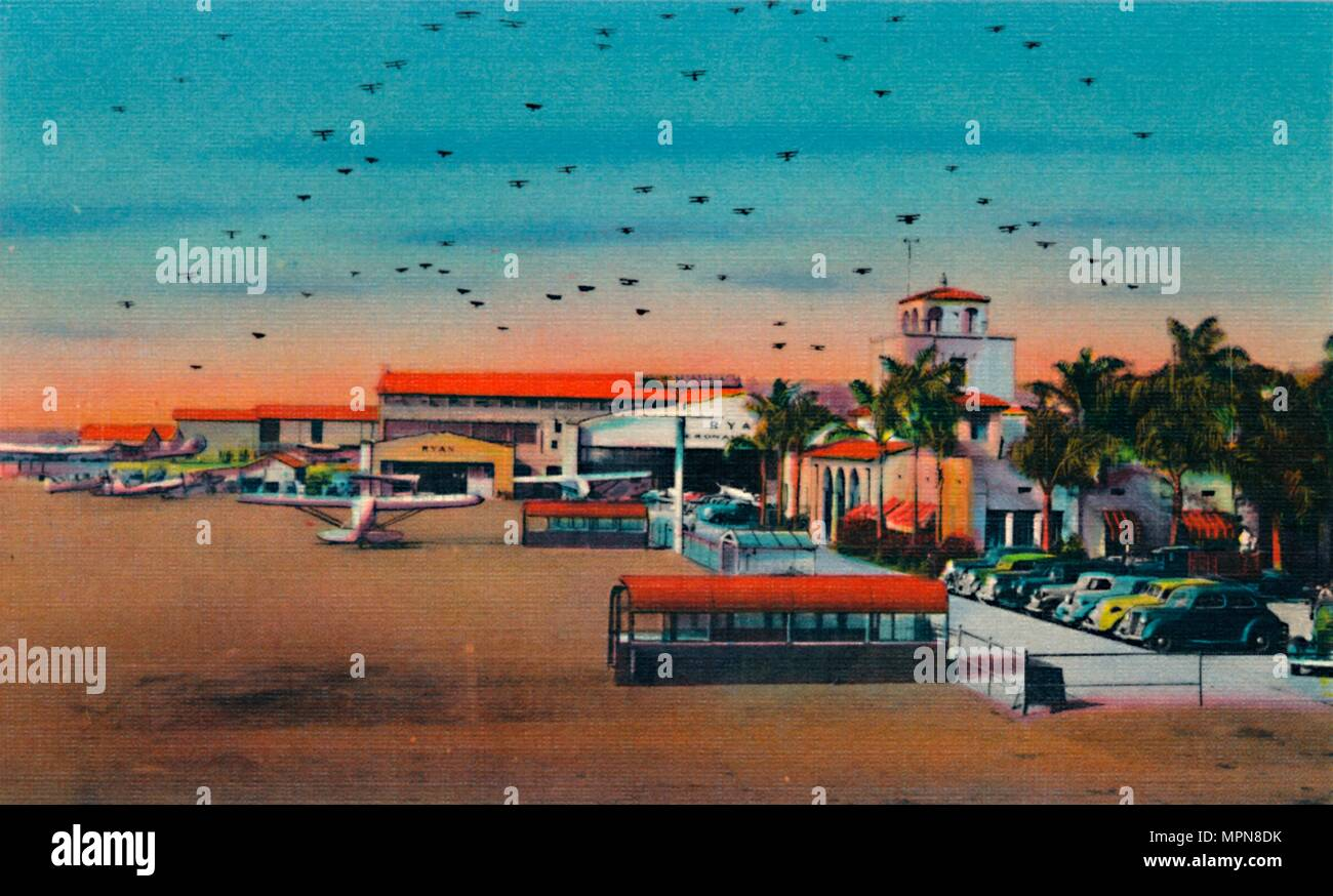 'Lindbergh Field and Administration Building. San Diego, California', c1941. Artist: Unknown. - Stock Image