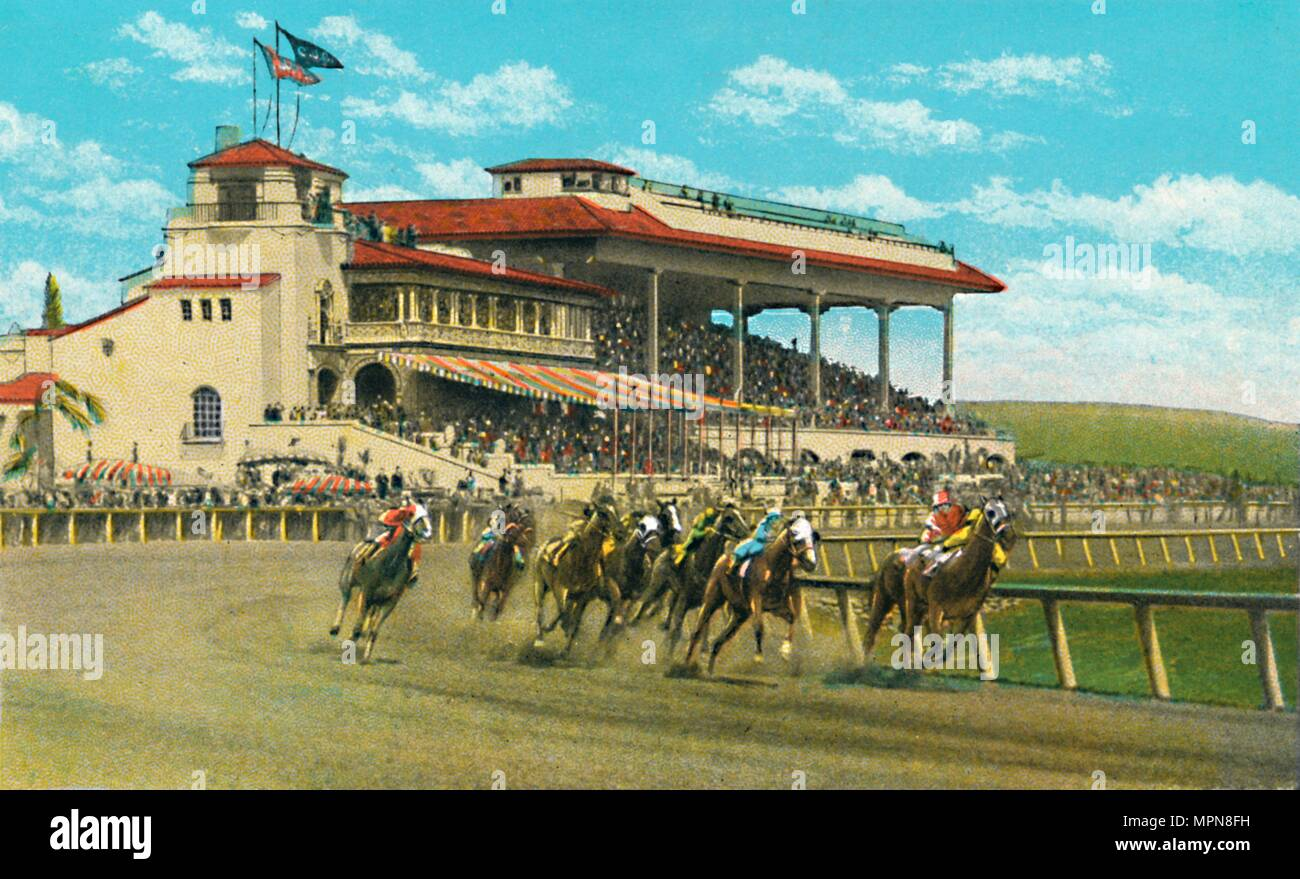 'New Club House and Grand Stand, Agua Caliente Jockey Club', c1939. Artist: Unknown. - Stock Image