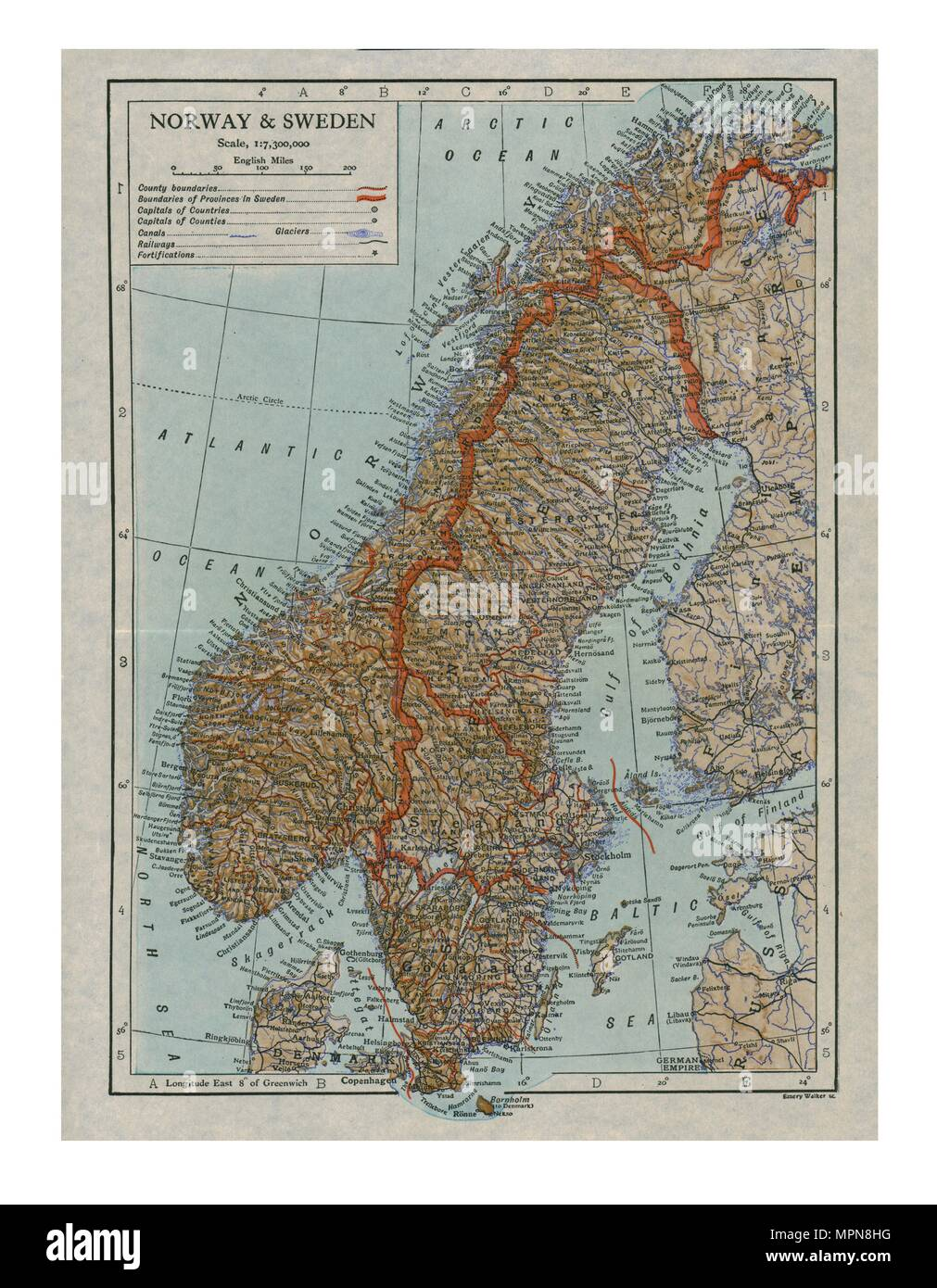 Map of Norway and Sweden, c19th century. Artist: Unknown. - Stock Image