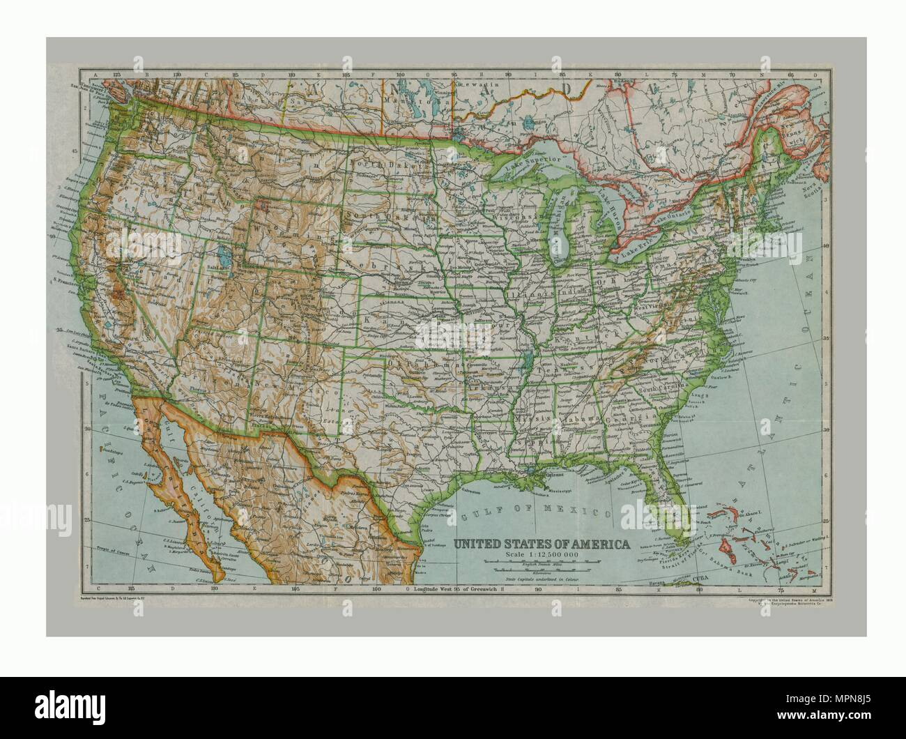 Map of The United States of America, c1910. Artist: Gull Engraving Laude Map United States on