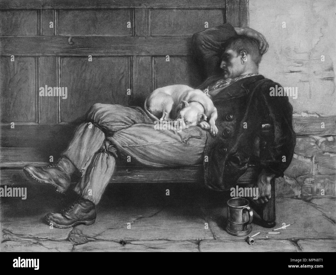 'Let Sleeping Dogs Lie!', 1880, (1912). Artist: Briton Riviere. Stock Photo