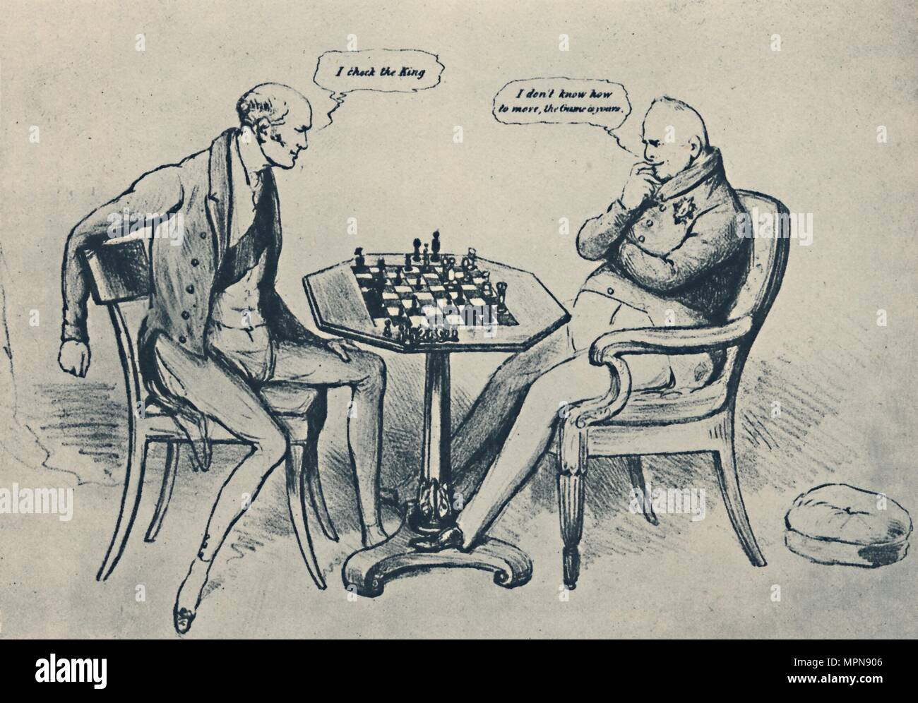 'A Game at Chess: Lord Grey Playing William IV', 1948. Artist: John Doyle. - Stock Image