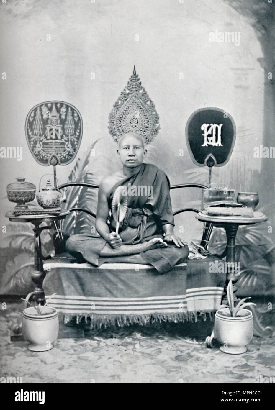 A royal priest, Siam, 1902. Artist: HW Rolfe. - Stock Image