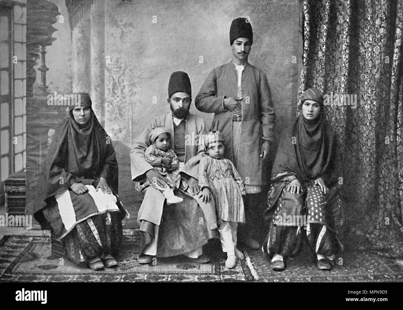 A Persian Parsi family, 1902. Artist: Unknown. - Stock Image