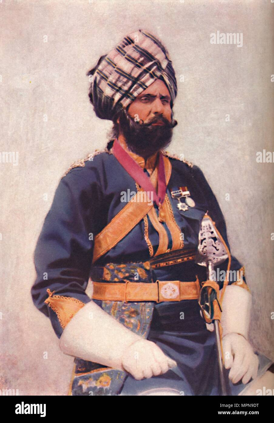 A Risaldar of the 16th Bengal Cavalry, 1902. Artist: Unknown. - Stock Image