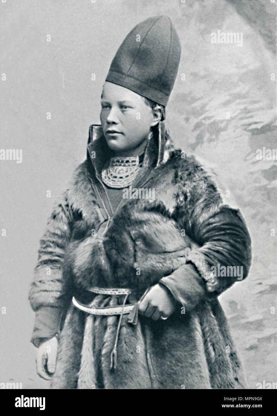 A young Laplander in winter costume, 1912. Artist: Oscar Olsson. - Stock Image