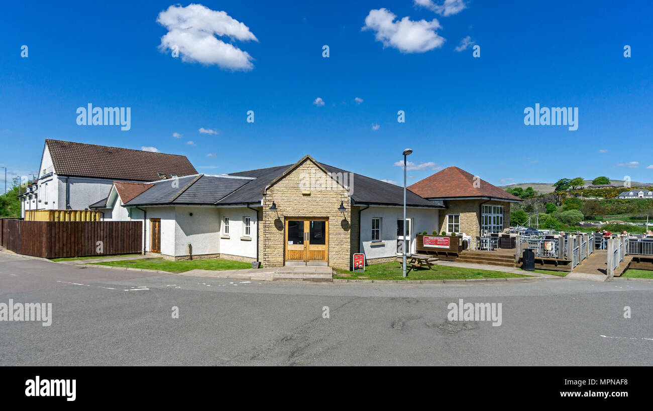 The Boat House at the basin on the Forth and Clyde Canal at village Auchinstarry near Kilsyth North Lanarkshire Scotland UK - Stock Image