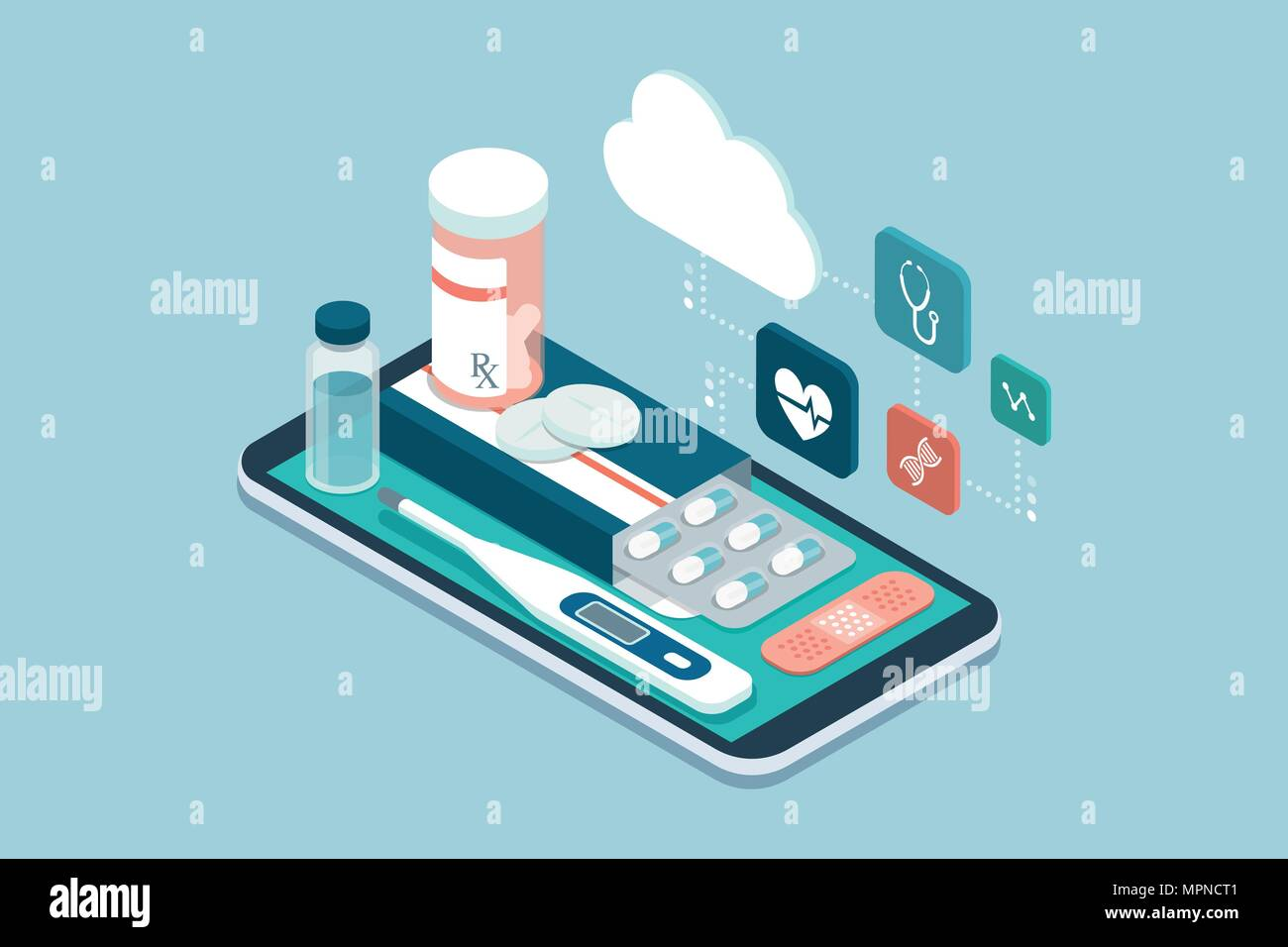 Medicine, healthcare and therapy app: prescription drugs, first aid and medical diagnosis equipment on a smartphone with icons - Stock Image