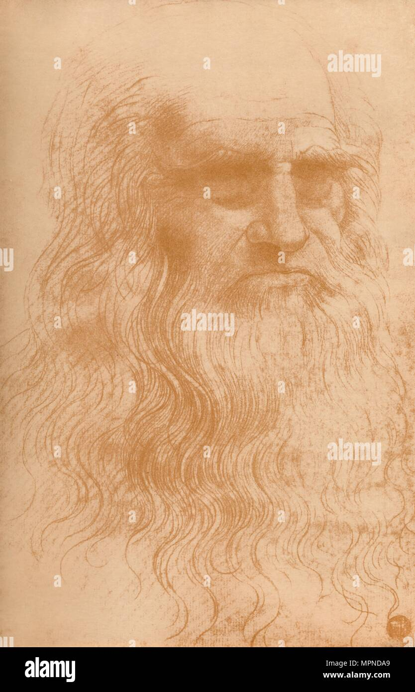 'Portrait of a Man in Red Chalk', c1512, (1932). Artist: Leonardo da Vinci. Stock Photo
