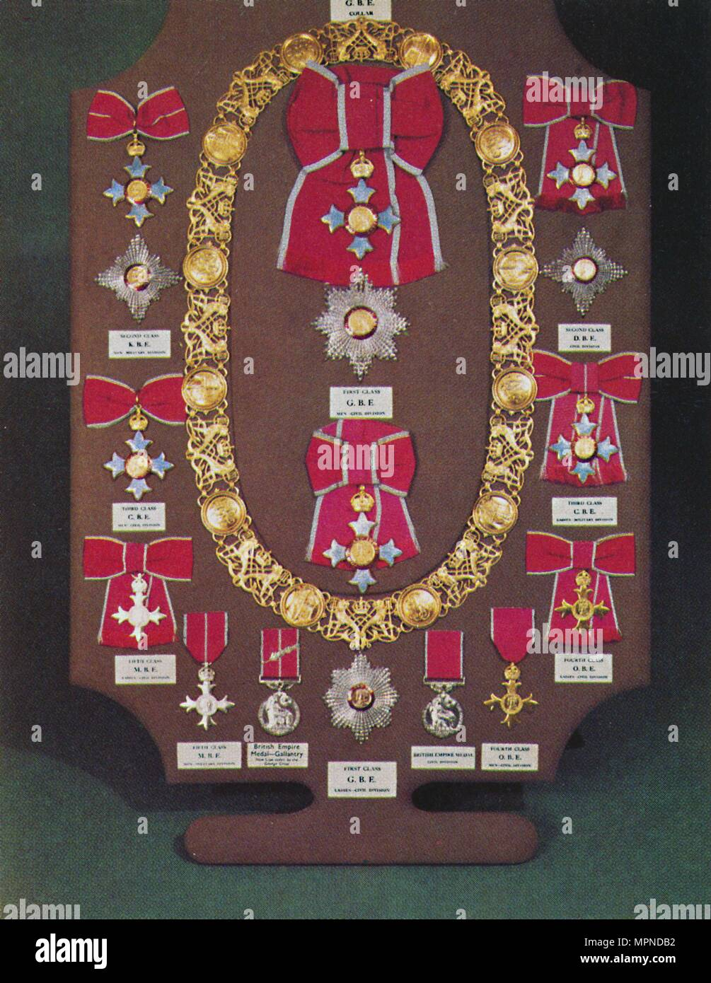 'Insignia of the Order of the British Empire', 1953. Artist: Unknown. - Stock Image