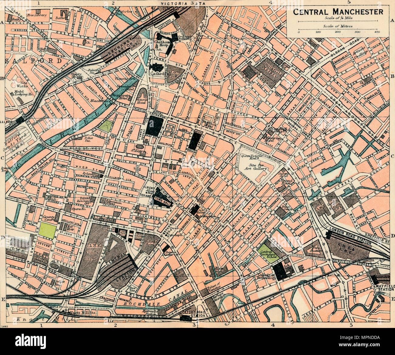 'Central Manchester', c20th Century. Artist: John Bartholomew. - Stock Image