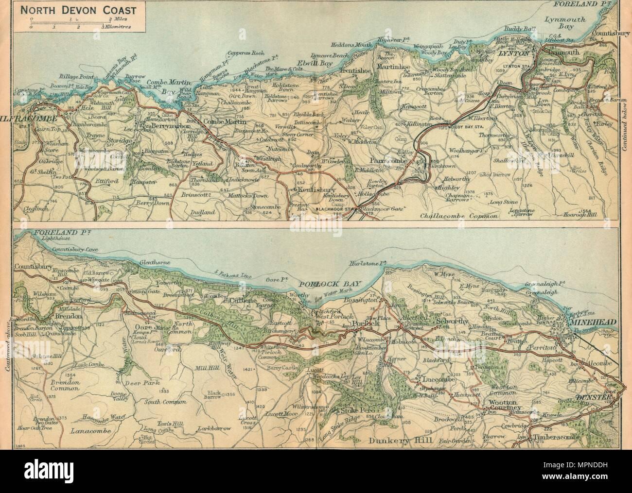 'North Devon Coast', c20th Century. Artist: John Bartholomew. - Stock Image