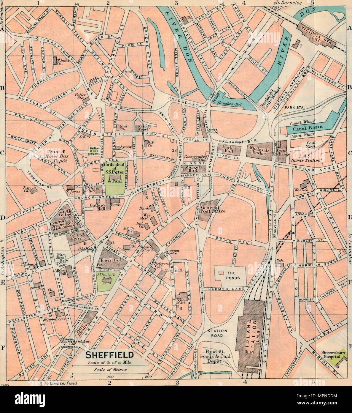 'Sheffield', c20th Century. Artist: John Bartholomew. - Stock Image